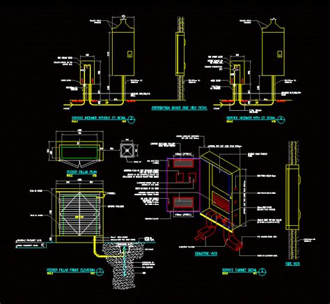 distribution board side view detail dwg detail  autocad