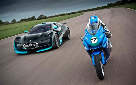 Sports Car And Bike Race