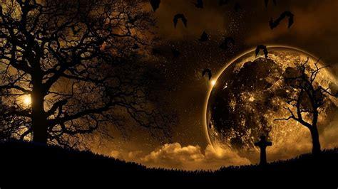 Trees Dark Moon Gothic Wallpaper