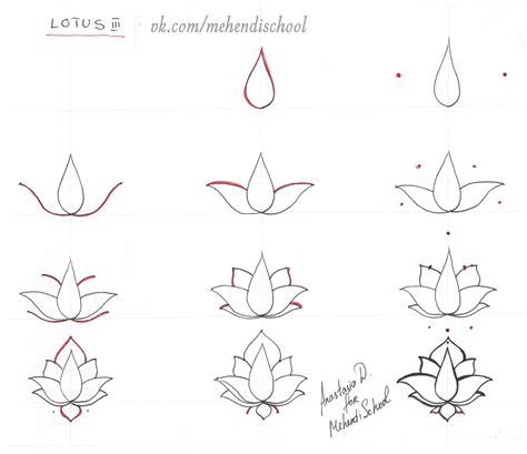draw classic indian mehndi lotus easy tutorial