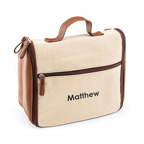 mens personalized hanging canvas toiletry bag  monogrammed