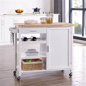Belleze, Rolling, Kitchen, Buffet, Cart, Wood, Utility, Storage, Island, Cart, With, Wood, Top, White