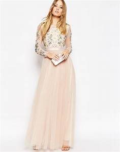 needle thread backless sheer sleeve tulle embellished With needle and thread robe