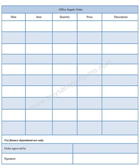 Office Supplies Order Form by Office Supply Order Form Office Supply Template