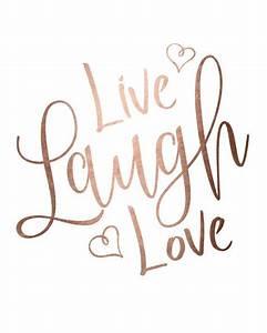 Rose gold foil print printable wall art LIVE LAUGH LOVE ...