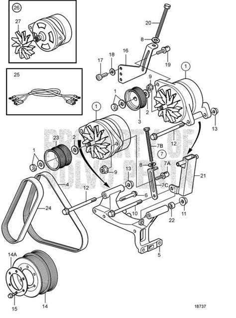 volvo penta exploded view schematic alternator twin