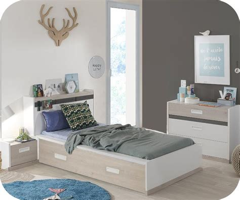 chambre in chambre enfant iléo blanche et bois set de 4 meubles