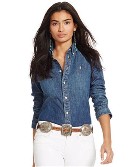 polo ralph lauren custom fit denim shirt tops women