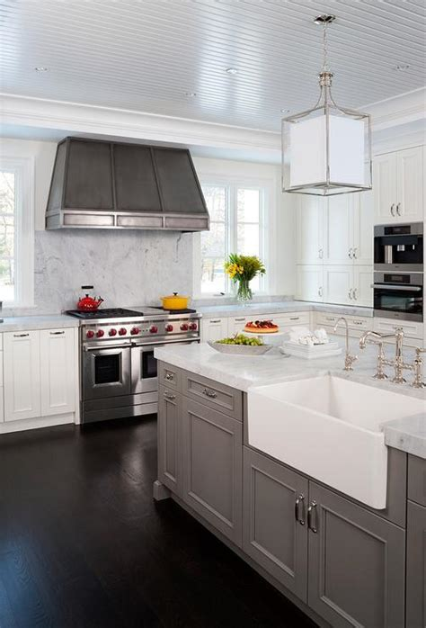 island  farmhouse sink transitional kitchen