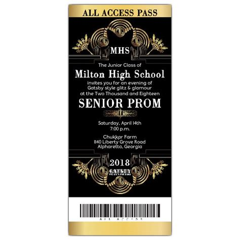 prom ticket template gatsby glitzy ticket prom invitations paperstyle