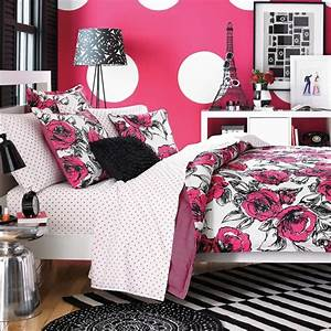 Girls Bedroom: Lovely Picture Of Girl Pink And Black