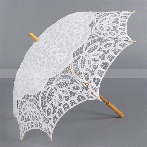 klassische weisse baumwolle spitze sonnenschirm mit