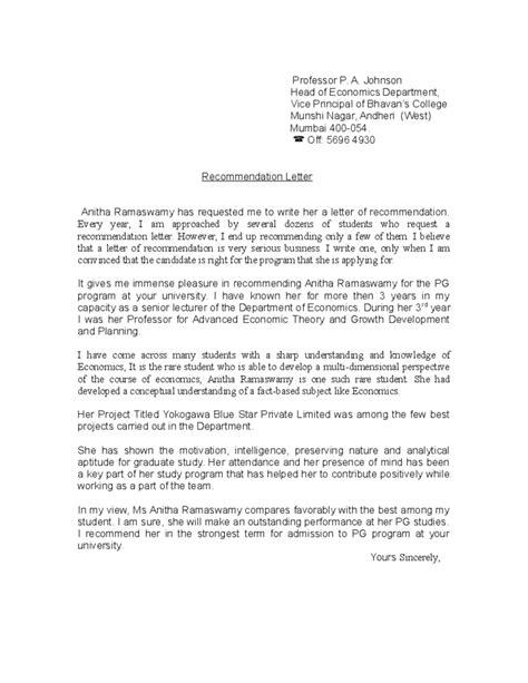 recommendation letter  student  professor