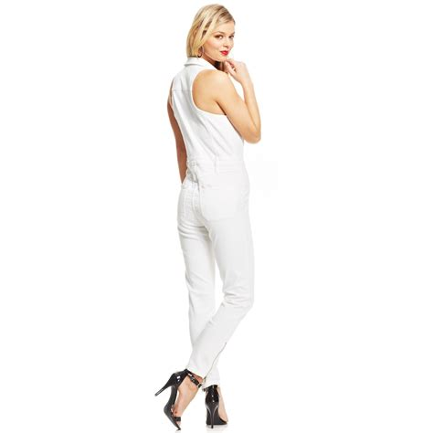 white denim jumpsuit lyst guess clara whitedenim jumpsuit in white