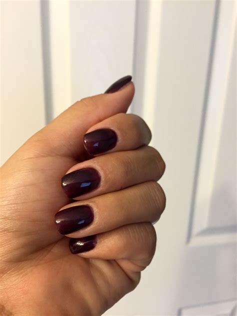 short acrylics dark purple gel polish  nails