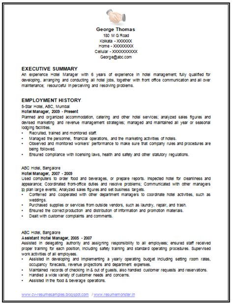 Work Experience Resume Sle Restaurant by Sle Template Of An Excellent Restaurant Manager Resume