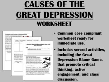 Dangers and they even do not realize. Causes of the Great Depression - US History - Common Core | TpT