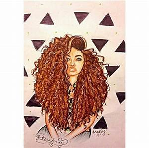 Drawn curl natural curly hair - Pencil and in color drawn ...