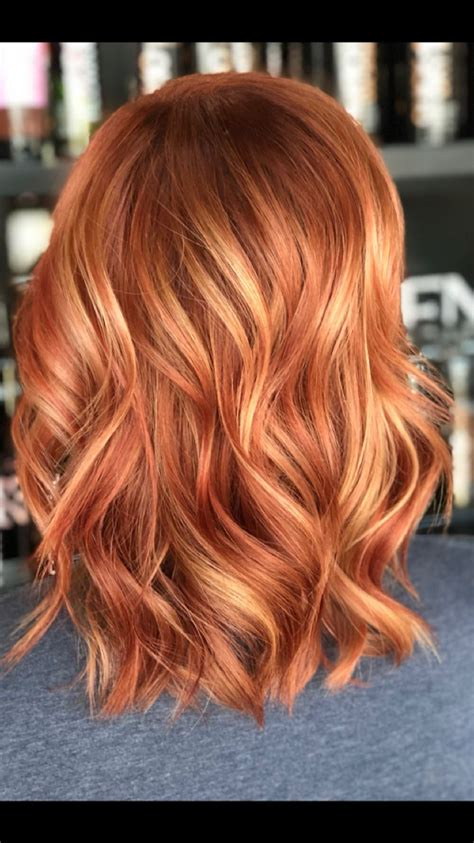 Sunset Red Strawberry Blonde Blonde Highlight Hair