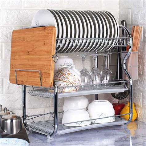 stainless steel dish drying rack  tier dish rack space saving  utensil holder dish