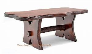 rustic log trestle cocktail table natural wood coffee With log slab coffee table