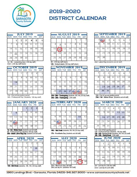 sarasota county school calendar printable