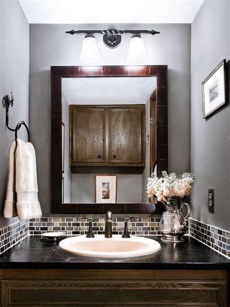 Bathroom Backsplash Ideas And Pictures by Powder Room Glass Tile Bathroom Backsplash Gray Design