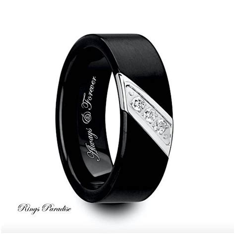 mens wedding bands engagement ring black tungsten ring