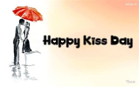 happy kiss day hand painting hd wallpaper