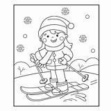Coloring Cartoon Skiing Winter Outline Ski Sports Sporty Boy Zimowe Het Fille Ragazza Corsa Sci Gli Sport Della Invernali Paginaoverzicht sketch template