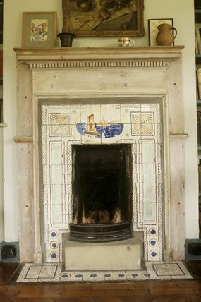 fireplace  painted tiles  vanessa bell  monks