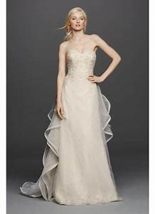 strapless lace wedding dress with removable train david With detachable wedding dress davids bridal