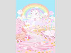 Vector Cartoon Fairy Tale World Candy Castle Background