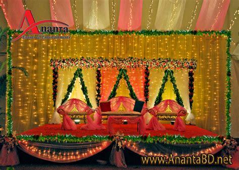bangladeshi bridal gaye holud gaye holud stage decoration
