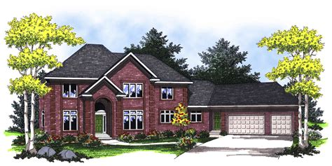 traditional  story  brick facade ah architectural designs house plans