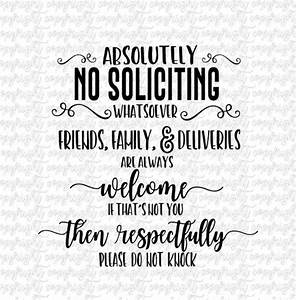 No Soliciting Svg Dxf Png   Cut File   Silhouette   Cameo