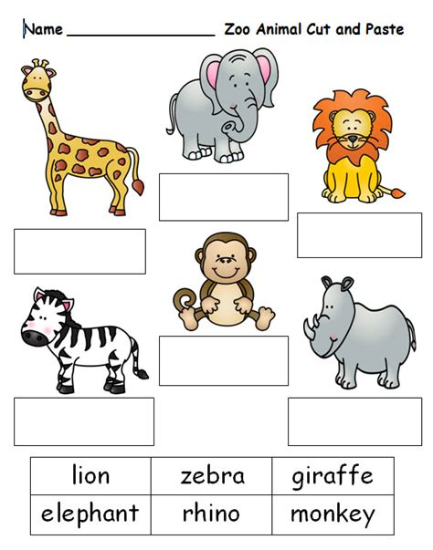 free cut and paste worksheet on zoo animal names see this