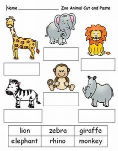 Free cut and paste worksheet on zoo animal names. See this ...