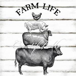 Vintage Farm Animals Large Black and White Instant Digital ...