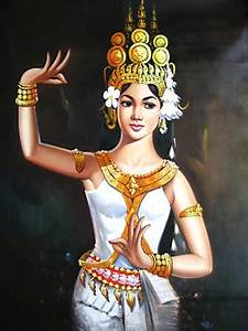 Apsara Paintings White Pose Ksilks | Souvenire