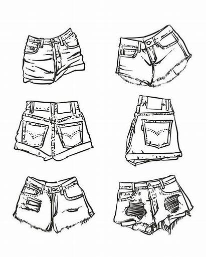 Drawing Denim Shorts Drawn Outline Drawings Background