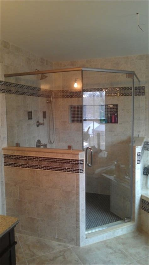 frameless corner shower door  knee wall traditional