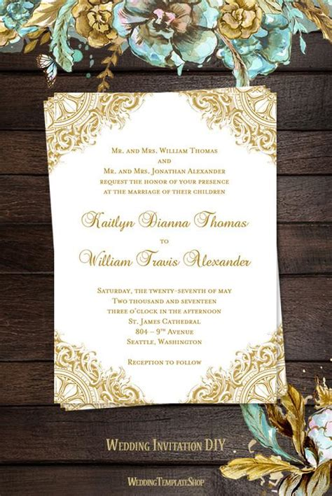 vintage wedding invitation gold wedding template shop