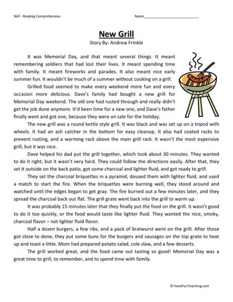 reading comprehension worksheet new grill