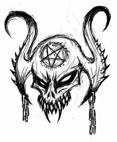 Skull Satanic Drawing Drawings Patten Mrhide Deviantart
