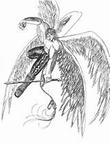 Warrior Angel Drawings Becuo Credit Larger sketch template
