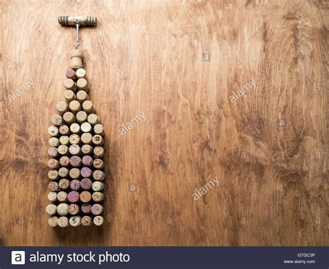 Wine Background Wine Corks In The Shape Of Wine Bottle On The Wooden