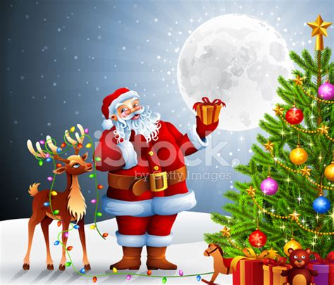 santa claus and rudolph with christmas tree stock photos