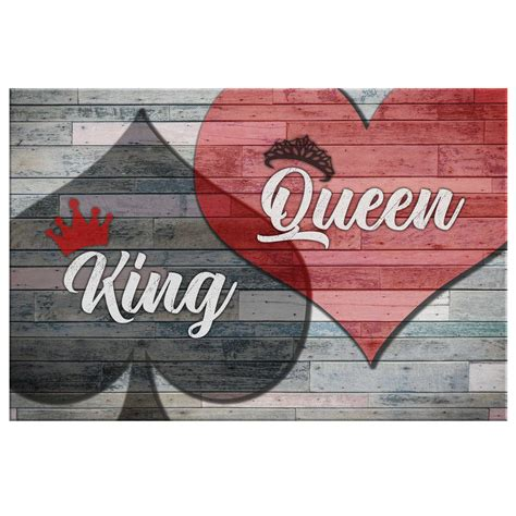 """King, queen and jack of hearts suit. Bedroom Canvas Wall Art """"King of Spades And Queen Of ..."""