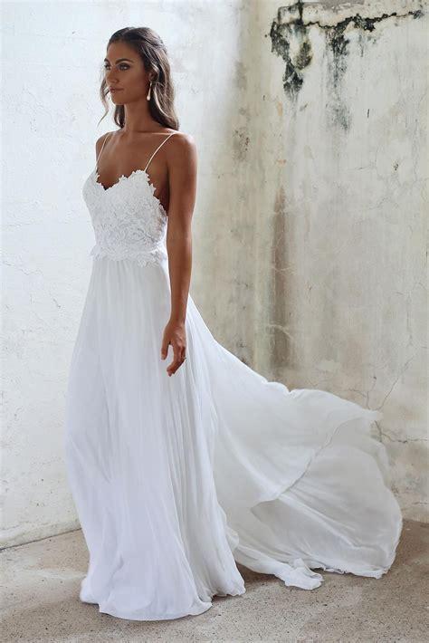 simple   spaghetti straps open  summer wedding dress